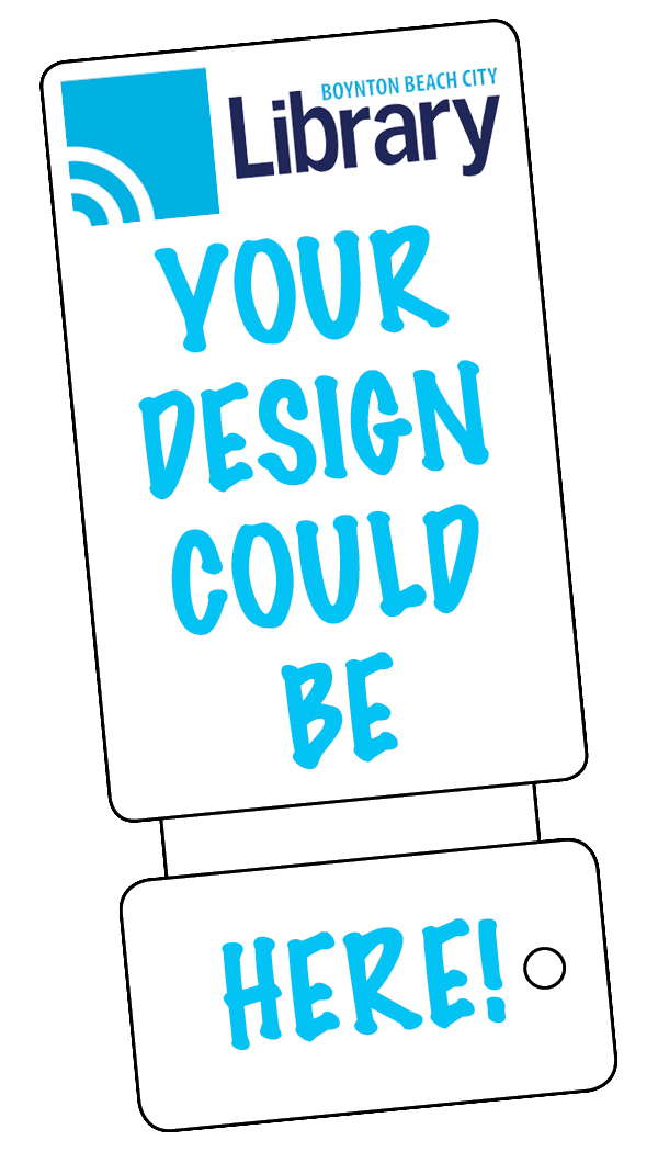 "Sample library card that says ""Your design could be here!"""