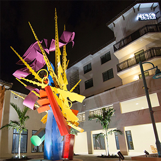 40 foot tall sculpture titled, cavalcade.