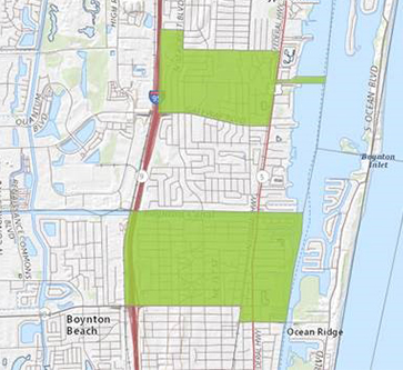 map of two zones earmarked as opportunity zones