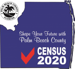 palm beach county census 2020 logo that says help shape your future