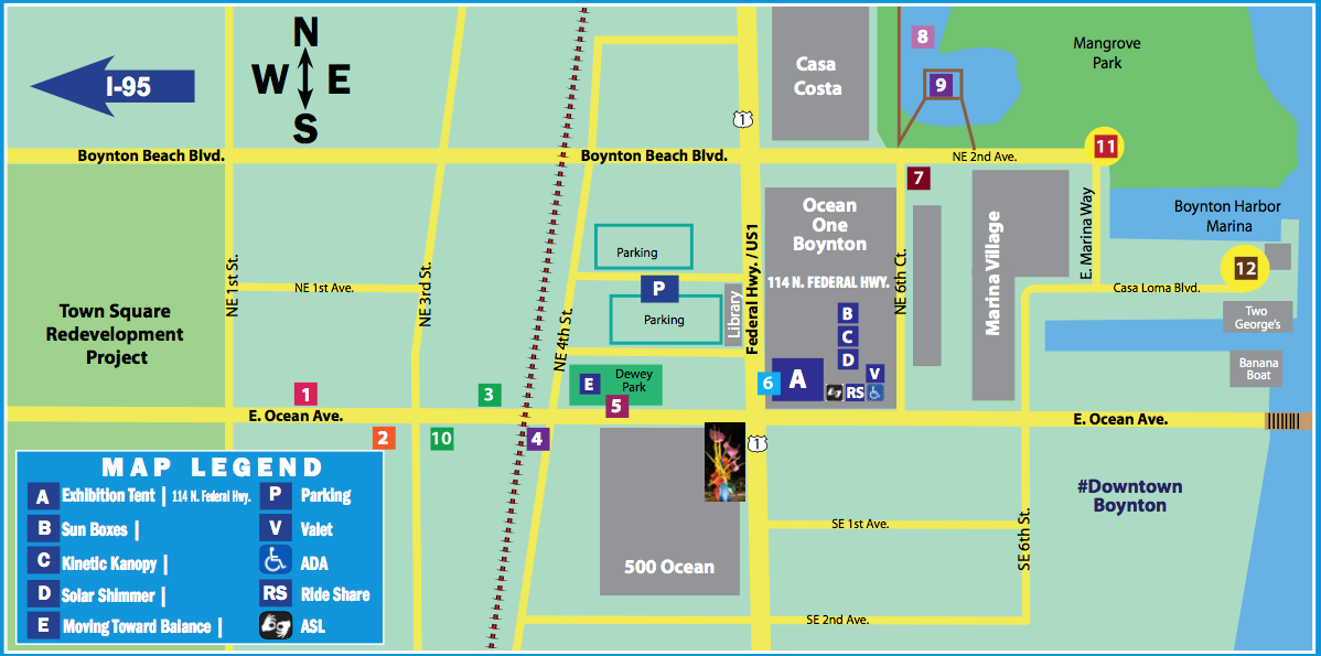 map of the layout of the kinetic art event
