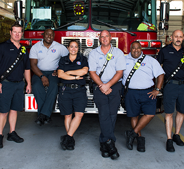 group of happy firefighters