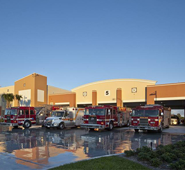 fire station 5 with firetrucks in front