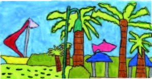 artwork depicts beach scene with 3 palm trees, pavilions and sailboat