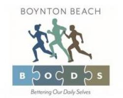 BODS acronym for bettering our daily selves. 3 silhouette figures running
