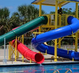 3 tubular slides at Denson pool