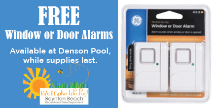 free door or window alarm available at Denson Pool while supplies last