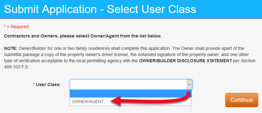 Submit Application - Select User Class, owner/agent