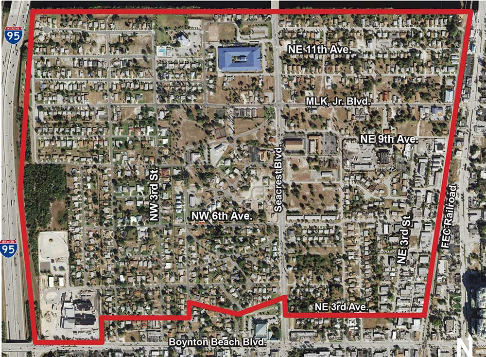 Heart of Boynton map and aerial photo