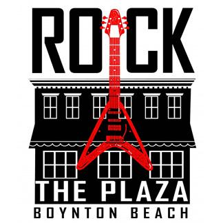 logo with guitar and a plaza