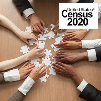 many arms reaching center with puzzle pieces and us census logo on top