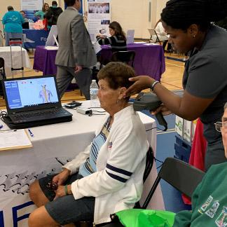 a senior getting a free health checkup