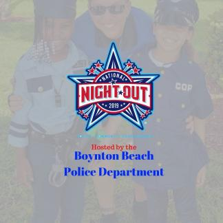 police officer with two children and national night out logo