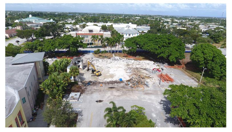 Aerial photo of Town Square demolition of former Civic Center site