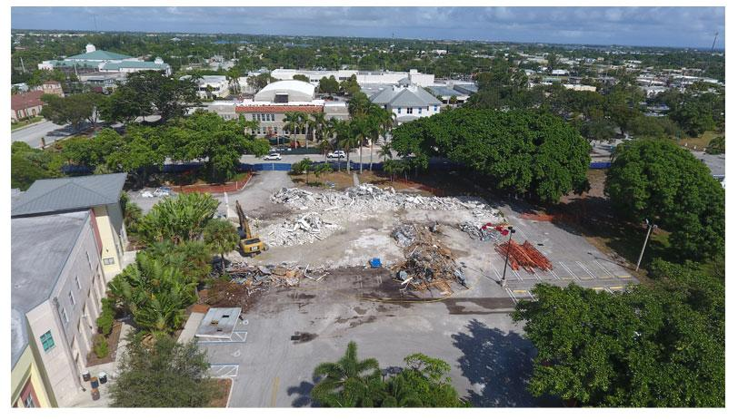 Aerial photo of Town Square demolition looking north