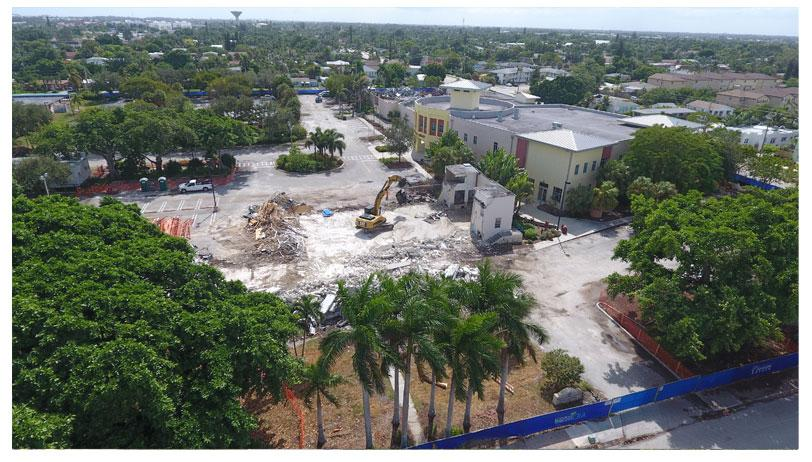 Aerial photo of Town Square demolition looking south