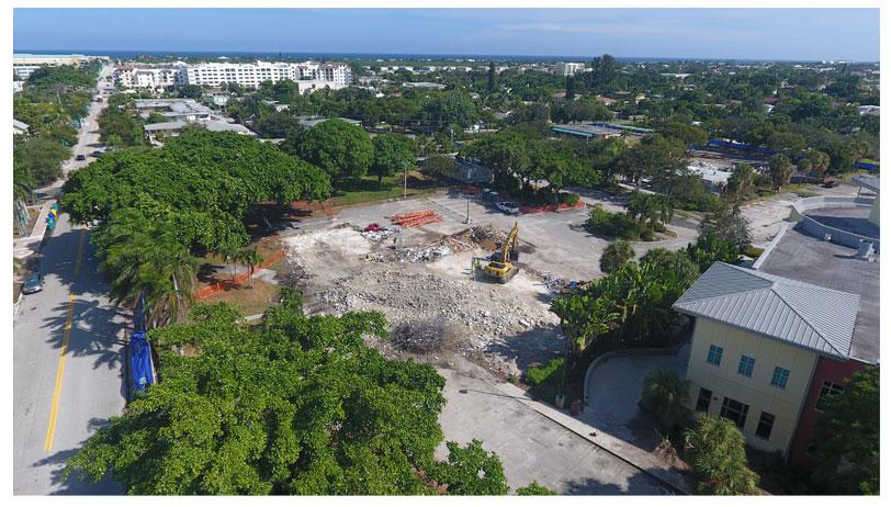 Aerial photo of Town Square demolition looking southeast