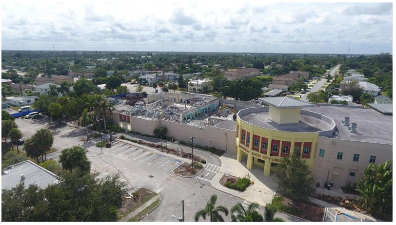 Aerial photo of Town Square demolition looking southwest