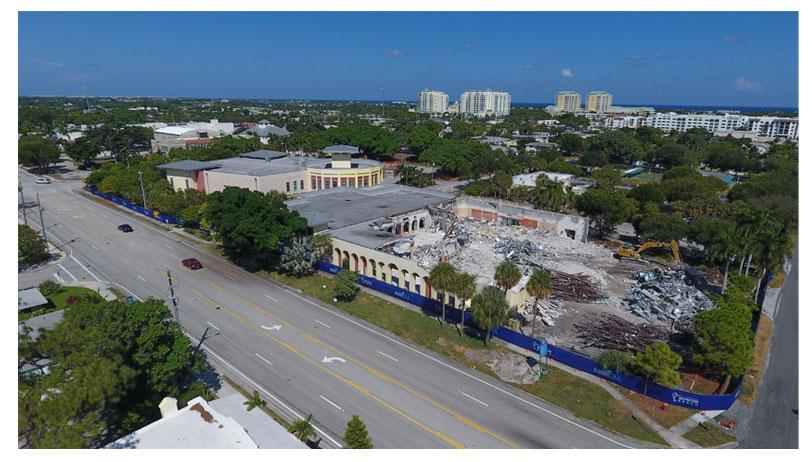 Aerial photo of Town Square demolition looking northeast
