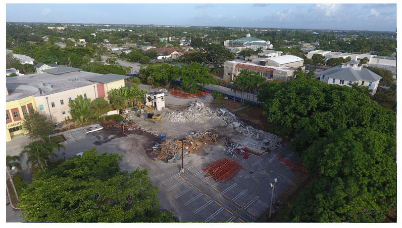 Aerial photo of Town Square demolition looking northwest