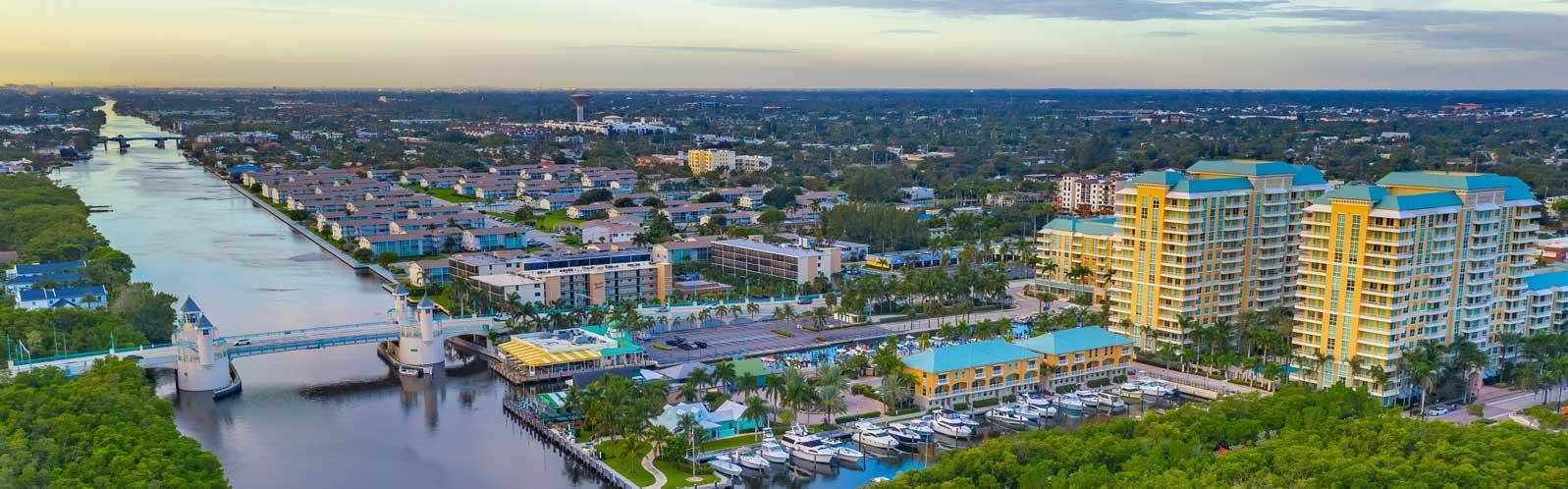 Aerial view looking southward over Ocean Ave. bridge and Intracoastal communities.