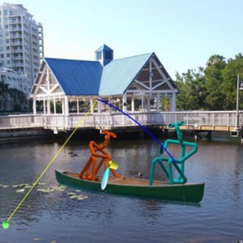 kinetic art boat in the water in boynton beach