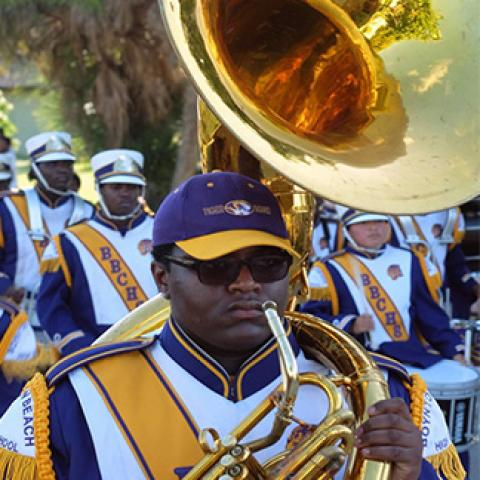 band in the holiday parade